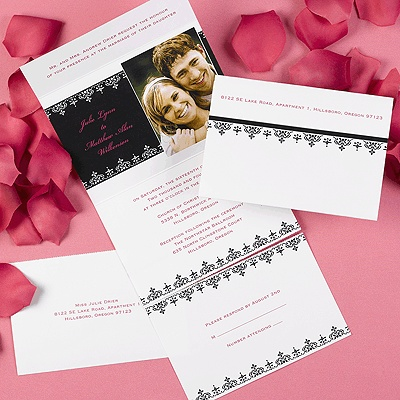 Black And White Filigree Self Mailer From Carlson Craft Value Style Save With This Picture Wedding Invitationsfiligree