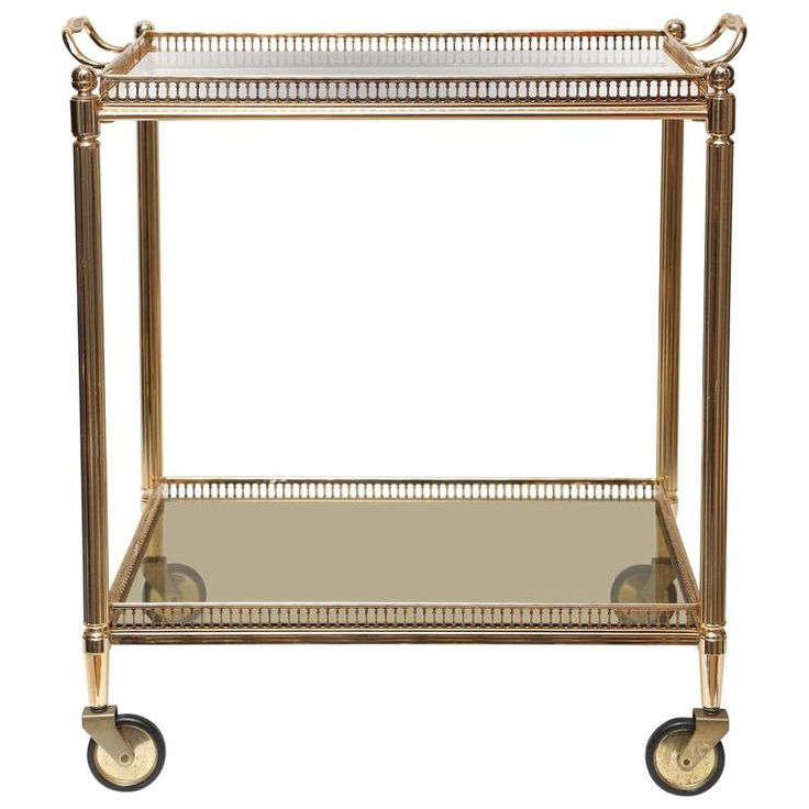 Superb Vintage Brass stone Two-Tier Cocktail Trolley For Sale at 1stdibs