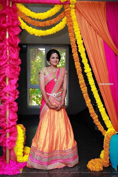 Colorful Half Saree in Shades of Pink and Orange