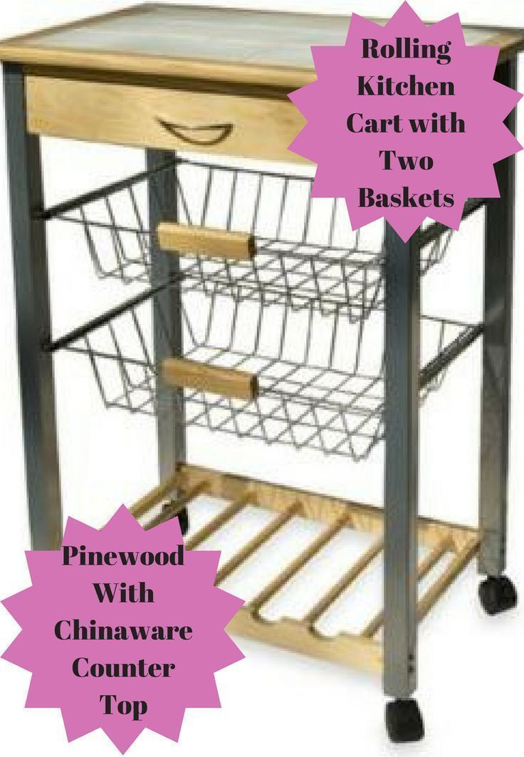 This Rolling Kitchen Cart with Two Baskets is made of pinewood and rolling metal with chinaware countertop will come in handy. It provides extra storage as well as utility and work space #ad #cleaning #organizing #kitchen #utility #cart