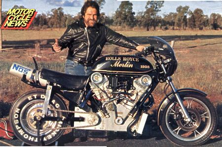 One of our readers from the land of Oz left a comment on yesterday's post about Roland Sands, suggesting another possible engine for the bike. What Dodgy found was a 5000cc Rolls Royce Merlin V-twi...