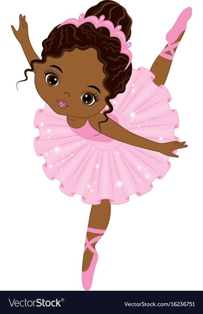 Cute Little African American Ballerina Vector Image On