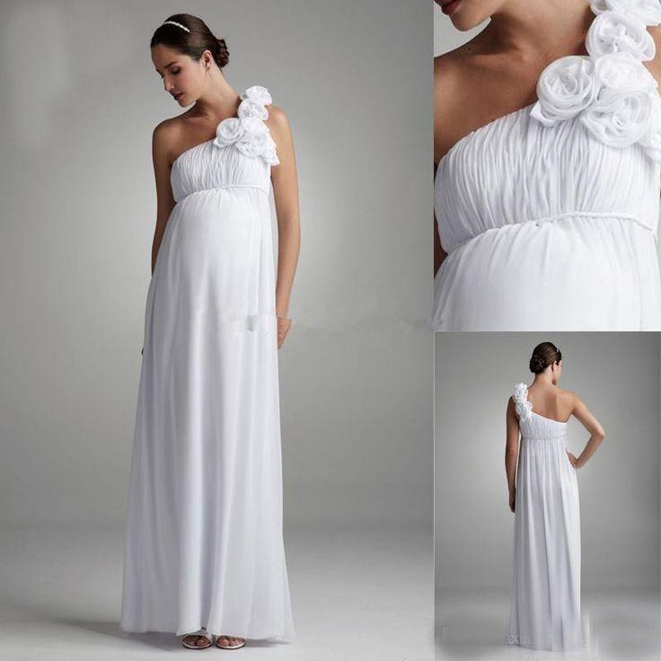 Simple Bohemian Maternity Bridal Dress One Shoulder