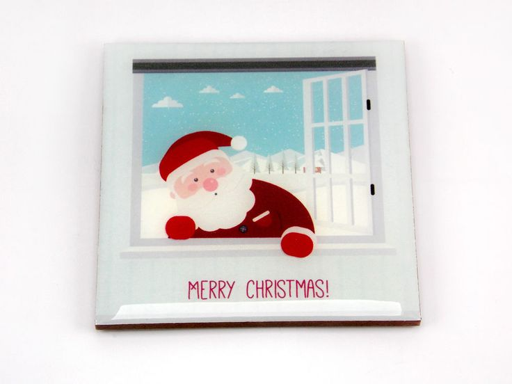 Merry Christmas Santa Claus Window Drink Coaster Unique Gift MDF Wood by Osarix