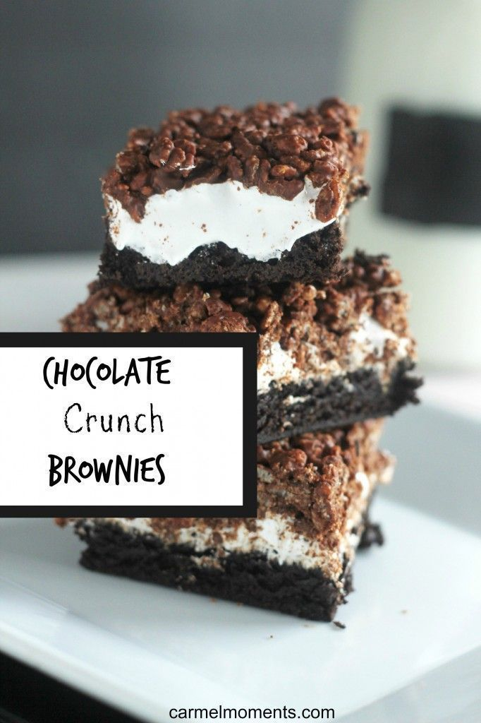Chocolate Crunch Brownies - A chewy brownie topped with marshmallow and chocolate krispies. A favorite for all.