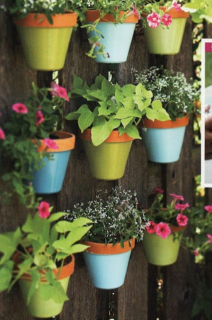This is a sweet way to add year round interest to a fence. I've been wanting to paint some garden elements a powdery turquoise colour, this pic seals the deal.