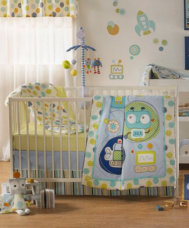 Look what I found on #zulily! Blue & Green Baby Bot Crib Sheet Set by Lolli Living #zulilyfinds