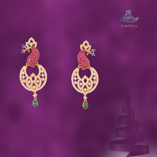 LALITHAA_JEWELLERY Amazing peacock earring looks like it dancing hanging in your ears. #lalithaajewellery.  Buy Pendants Online Gold Fancy Bracelets Buy Bracelets Online Buy Bracelets for Women Diamond Bracelets Designs