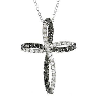 Haylee Jewels Silver 1ct TDW Black and White Diamond Cross Necklace - Free Shipping Today - Overstock.com - 13279105 - Mobile