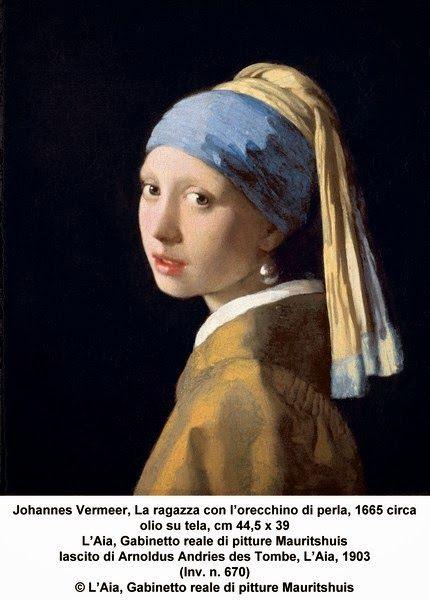 Johannes Vermeer, La ragazza con l'orecchino di perla, 1665 circa olio su tela, cm 44,5 x 39 L'Aia, Gabinetto reale di pitture Mauritshuis lascito di Arnoldus Andries des Tombe, L'Aia, 1903 (Inv. n. 670) © L'Aia, Gabinetto reale di pitture Mauritshuis http://www.sphimmstrip.com/2014/03/la-ragazza-con-lorecchino-di-perla-vermeer.html?m=1