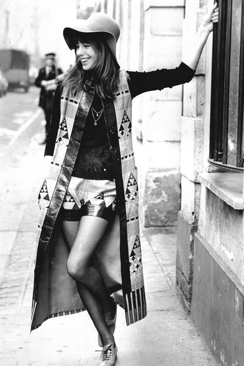 Jane Birkin in 1971. Lanvin geometric print ensemble.