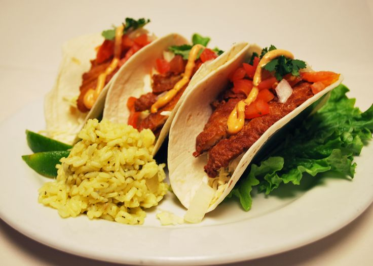 Appalachian Brewing Co. ROCKFISH TACOS Three flour tortillas packed with beer battered rockfish, freshly shredded cabbage, diced ripe tomatoes and red onions. Finished with a chipotle cream drizzle and shredded lettuce. Served with cilantro lime rice, sour cream and your choice of salsa or honey habanero sauce on the side….15 Suggested beer pairing: Outta Focus Double IPA #FishTacos #BeerBattered