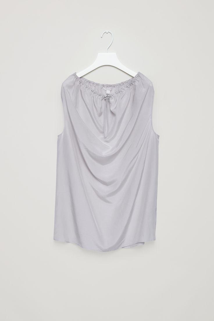 COS | Silk top with drawstring neckline