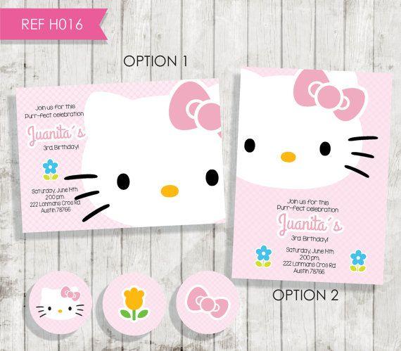 Hello Kitty Birthday Invitation Invitación por CreativaDesignCo