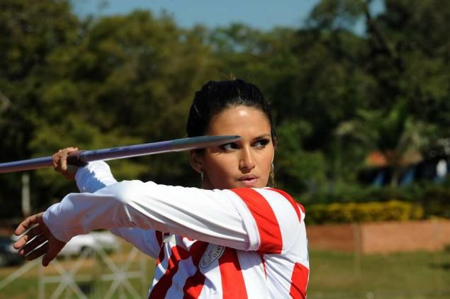 Model Citizen! Keryn Franco, a member of Paraguay's Olympic team - and a MODEL - gets in a little practice a week before the start of the London Olympics.