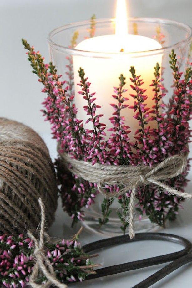 DIY | Herfst | Theelichtjes met takjes heide | decoratief | how to | recycle | tips | creatief