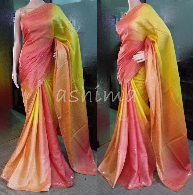 Code:0907162 - Shaded Tussar silk saree With mirror Work border, Price INR:7360/-