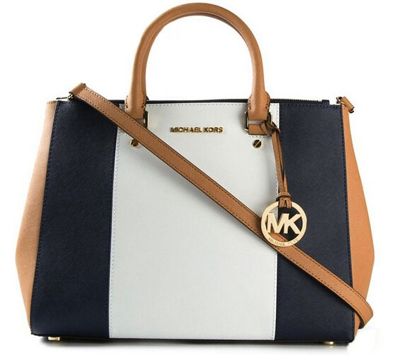 Michael Kors Large Color-Block Leather Satchel Sapphire And Whit