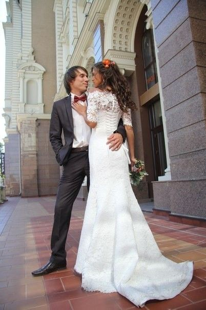 Vestido Beach Bridal Gown Half Sleeve Lace Mermaid Wedding Dress 2017 Sexy-in Wedding Dresses fr ...