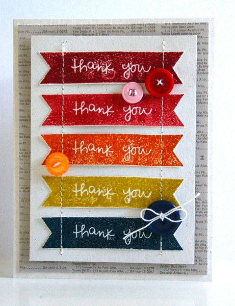 I see this done with the Cricut Artiste cartridge, our lovely CS & the Thank You stamp from the Give a Lift stamp set, stamped in White Daisy Ink.