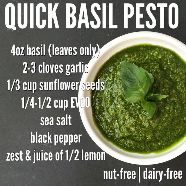 Pesto recipe from Diane Sanfilippo of Balanced Bites. I think it would be fab with walnuts instead of sunflower seeds, too.