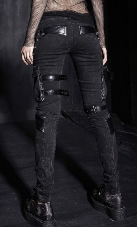 worn black denim with cargo pockets, get rid of aesthetic buckles, add gun holster (knife holster?)