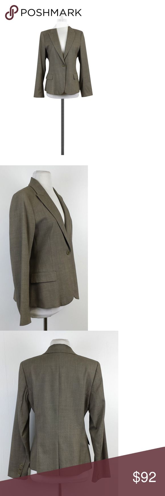 "Theory- Taupe Wool Blazer Sz 12 Add this classic one button taupe blazer to your wardrobe for a professional staple. Made of wool, this timeless blazer is sure to last. Size 12 Body 98% wool 2% polyurethane Lining 100% polyester Sleeve lining 50% polyester 50% viscose Button on front 2 waist pockets w/flaps 1 chest pocket Buttons on sleeves Vent in back Long sleeves Lightly padded shoulders Shoulder to hem 24.5"" Shoulder to shoulder 16"" Simple yet so classic, Theory pieces are some of the…"