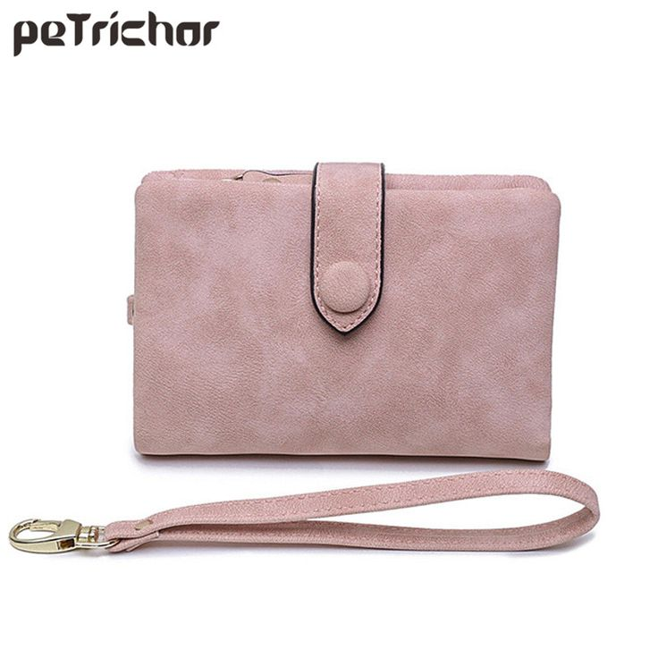 2017 Short Wallet for Women PU Leather Money Purse Wrist Band Card Holder Hasp Fahsion Solid Female Purses Girls Bags