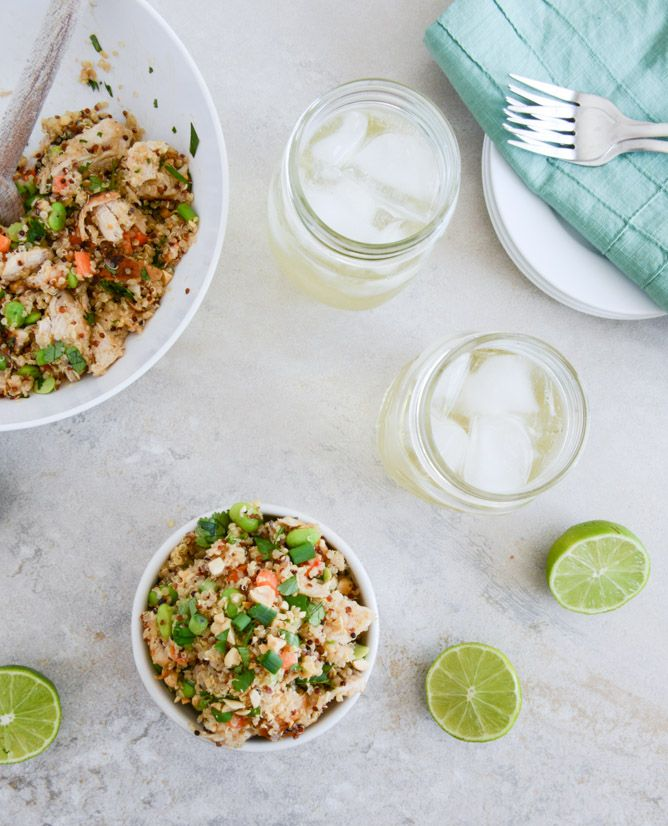 thai chicken quinoa bowl. one of the best pinterest finds in a long time. great lunch.