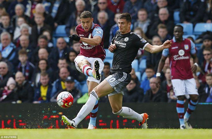 Aston Villa strikerRudy Gestede fires towards goal past the challenge of Chelsea centre back Matt Miazga on Saturday afternoon