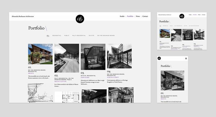 Responsive Design for Alexandra Buchanan Architecture website by Studio Alto