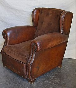 Vintage French Leather Club Chair Rochefort Wingback