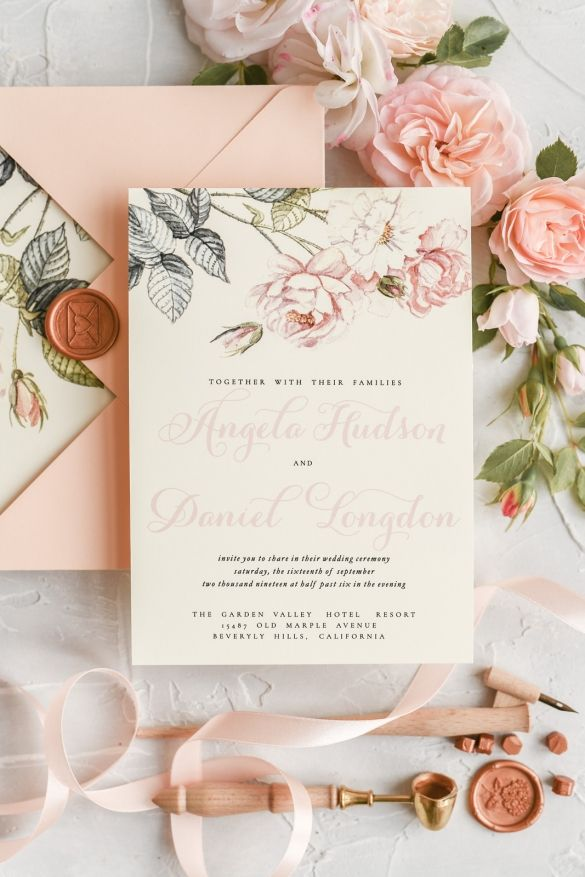 Bespoke Wedding Invitation Pastel Watercolor Invites Calligraphy 1