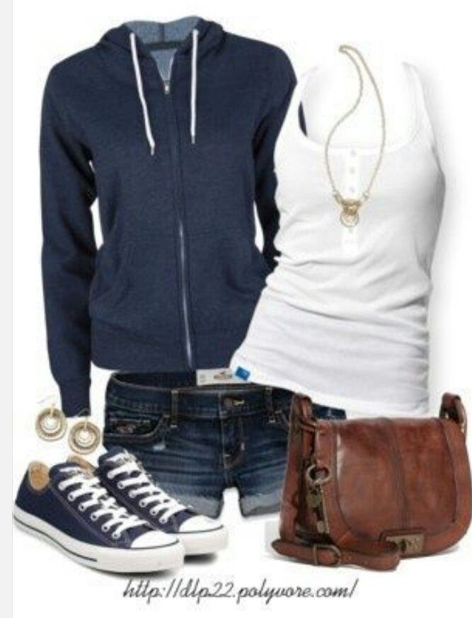 Navy Blue Converse Tank Top  Faded Shorts Blue Hoodie Washed Leather Satchel