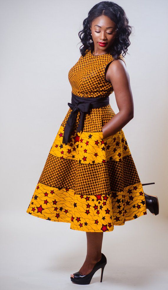African blended print gown, Ankara blended print gown, African print match and flare gown, Ankara sleeveless gown, Sleeveless gown, dimension 10