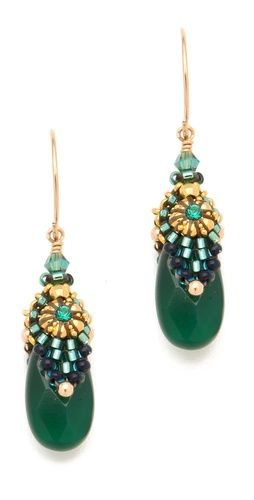 Miguel Ases Green Onyx Drop Earrings // #brick-stitch