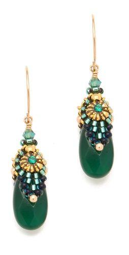 Miguel Ases Green Onyx Drop Earrings