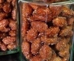 Honey cinnamon roasted almonds with butter and sugar