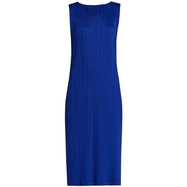Pleats Please Issey Miyake Sleeveless pleated midi dress (24.960 RUB) ❤ liked on Polyvore featuring dresses, blue, sleeveless dress, blue sleeveless dress, blue pleated dress, sleeveless midi dress and blue midi dress