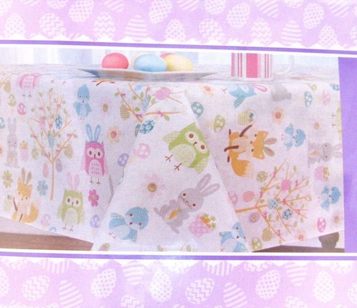 Easter Tablecloth Owls Birds Bunnies 60 Inch Round Vinyl With Polyester  Backing