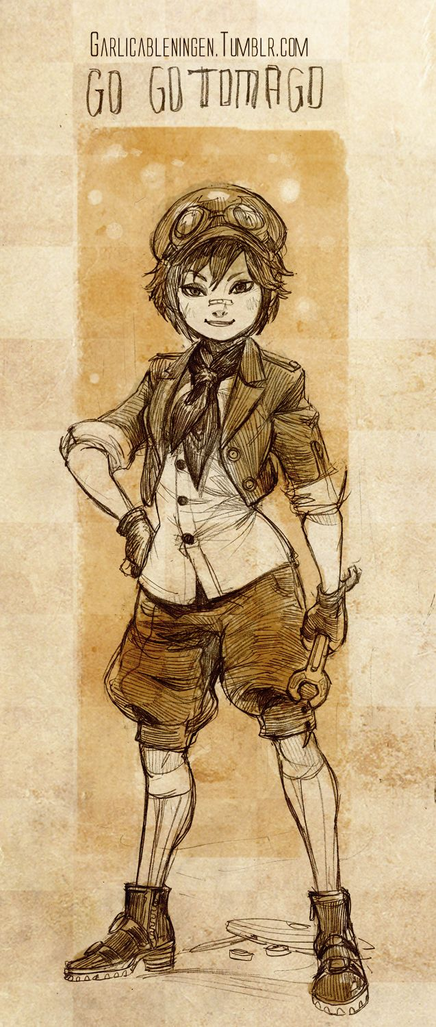 "Steampunk version of Go Go Tomago from ""Big Hero 6"" - Art by garlicableningen.tumblr.com"