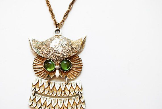 vintage SNOW owl necklace / 1960 oversizedVintage Snow, Beautiful Jewelry, 1960 Oversized, Snow Owls, Owl Necklace, Owls Necklaces