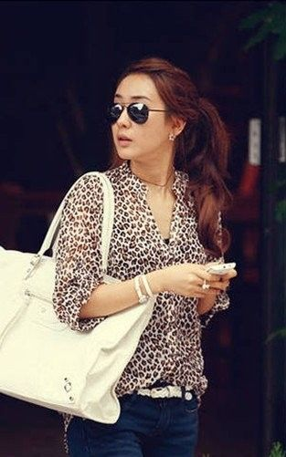 Leopard Chiffon Shirt - Vintage Lissy