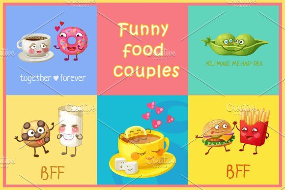 Cartoon funny cute food couples by Ann-zabella on @creativemarket