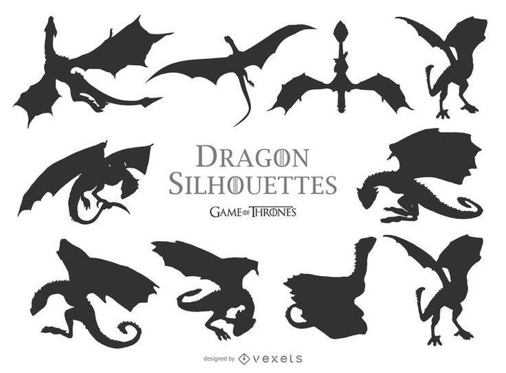 Grand Ensemble De Silhouettes De Dragon Dans Differentes Postures Actions Et Tailles Il Y A Drachen Silhouette Kleine Drachen Tattoos Game Of Thrones Tattoo