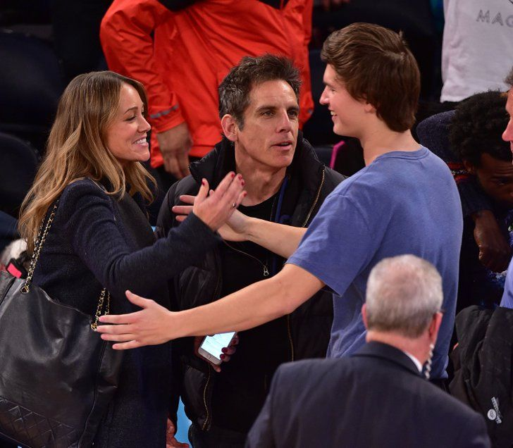 Pin for Later: 10 Ridiculously Funny Things Ansel Elgort Did at the Knicks Game He got friendly with Ben Stiller and Christine Taylor.
