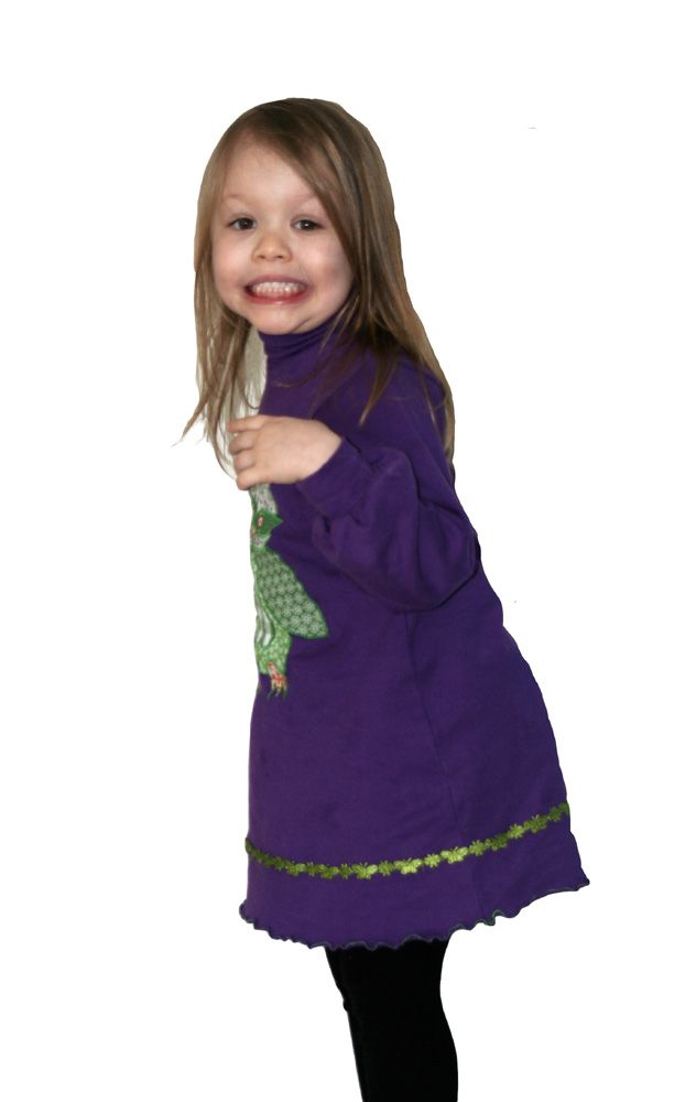Purple cotton and a green owl <3