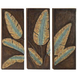 "Three Metal Leaf Wall Decor Plaques by Aspire. $63.01. Beautiful Appeal. Perfect for your Walls. Elegant Design. 35""W, 29""H. Set Three Metal Wall Leaf Plaques are beautiful for your wall accent, bring a touch of elegant and beautiful decor appeal to your home.. Save 62%!"