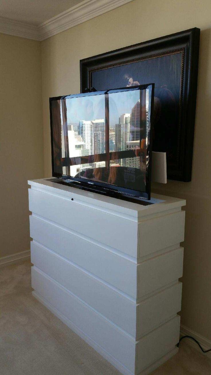 prism white w swivel tv lift cabinet