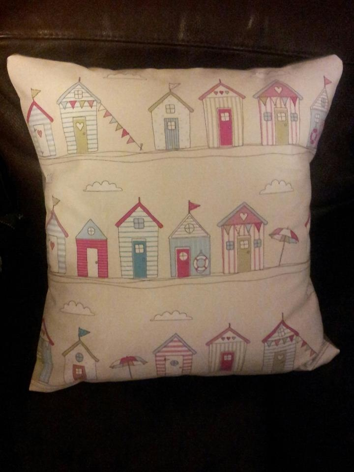 Beach Huts cushion. Handmade by Style and Salvaged